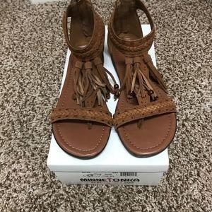 Minnetonka Brown Leather Fringe Sandals